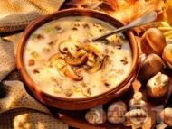Рецепта Вкусна чорба / супа от гъби печурки със сметана и фиде или ориз